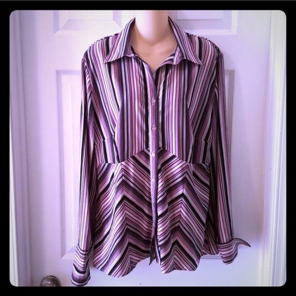 cbf31d1c Dress Barn Tops   Dressbarn Purple Striped Button Down Blouse 1x ...